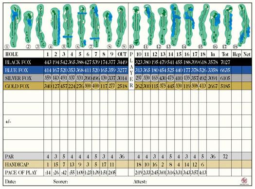 Scorecard Fox Creek Golf Course